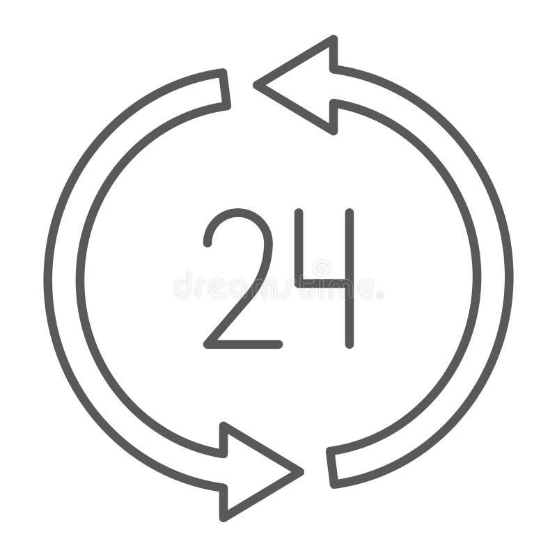 24 Stunden Linie Ikone der Lieferung der dünnen, Services und Lieferung, zwanzig vierstündliches Zeichen, Vektorgrafik, ein linea lizenzfreie abbildung