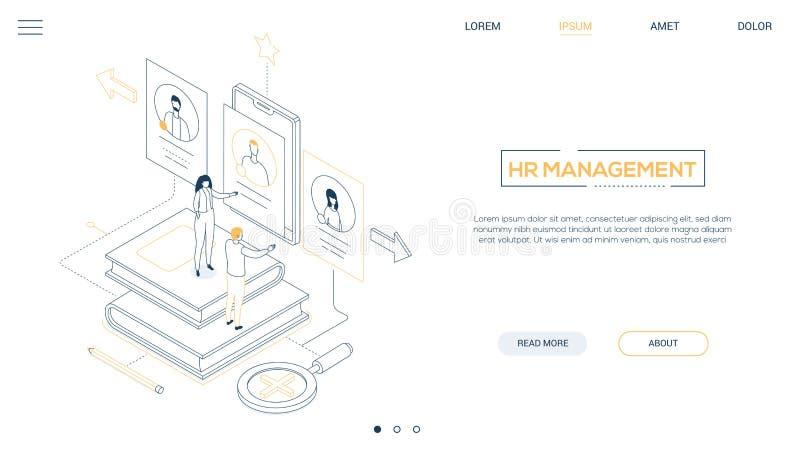 Stunden-Management - Linie isometrische Netzfahne der Entwurfsart lizenzfreie abbildung