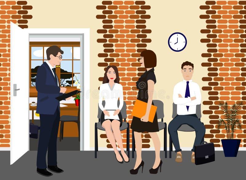 Stunden-Manager mit Angestelltem in der Hallenvektorikone Beruf einer Managerkonzeptillustration Mann in der Klage mit stock abbildung