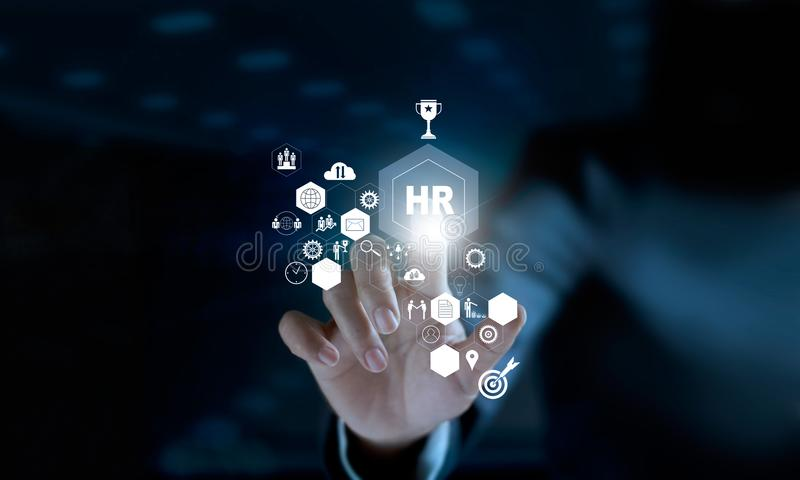 Stunden-Netz Schnittstelle des Geschäftsmannes schließen rührendes modernes virtuelles an lizenzfreies stockfoto