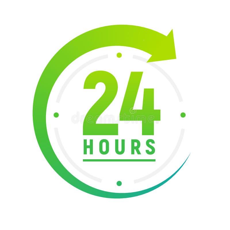 24 Stunden pro Tag Ikone Grüne Uhrikone um Arbeit Service-Zeitunterstützung 24 Stunde pro Tag lizenzfreie abbildung