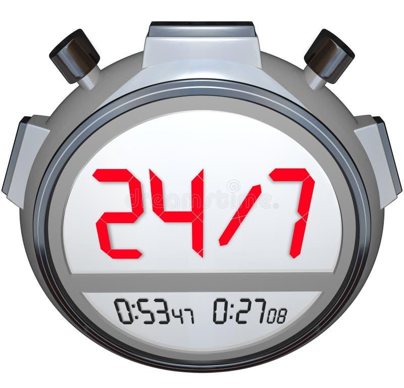 24 Stunden pro Tag sieben Tageswochen-Stoppuhr-Timer-Uhr stock abbildung