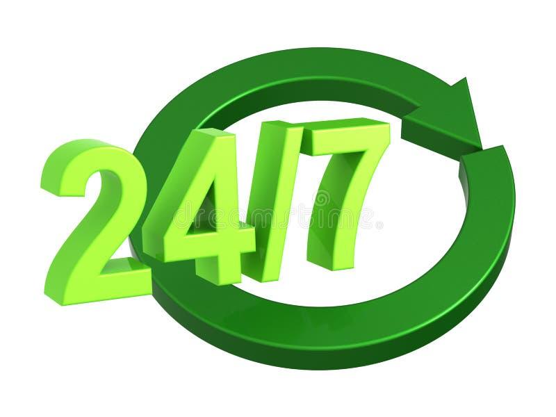 24 Stunden pro Tag und unterzeichnen Sie 7 Tage in der Woche lokalisiert über Weiß lizenzfreie abbildung