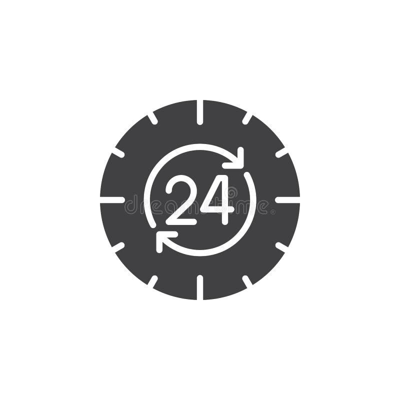 24 Stunden, rund um die Uhr Ikonenvektor, füllten flaches Zeichen, das feste Piktogramm, das auf Weiß lokalisiert wurde vektor abbildung
