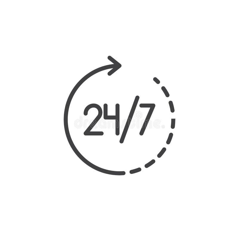 24 Stunden Service-Ikonenvektor der 7 Tageswoche im verfügbaren stock abbildung