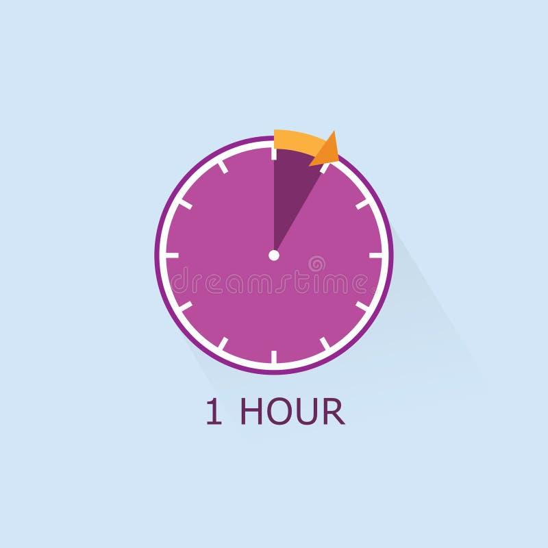 1-Stunden-Timer-Ikone mit orange Pfeilillustration auf blauem Hintergrund stock abbildung
