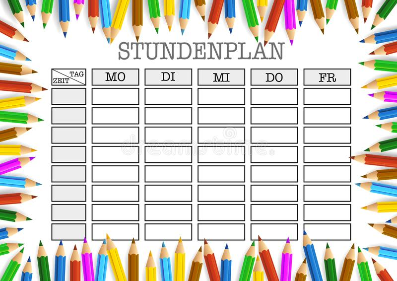 Class schedule surrounded by colored pencils template stock illustration