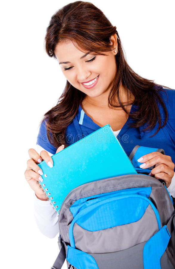 Download Stundent with backpack stock image. Image of notebooks - 24524887