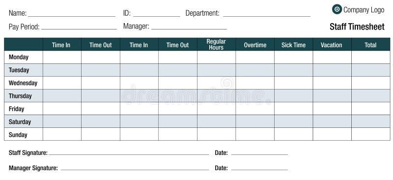 Stundenzettel-Schablonen-Tabelle für Angestellte lizenzfreie abbildung