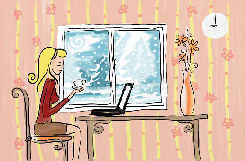 Stunder som det kalla vädersötsakhemmet är det bäst, förlägger stock illustrationer