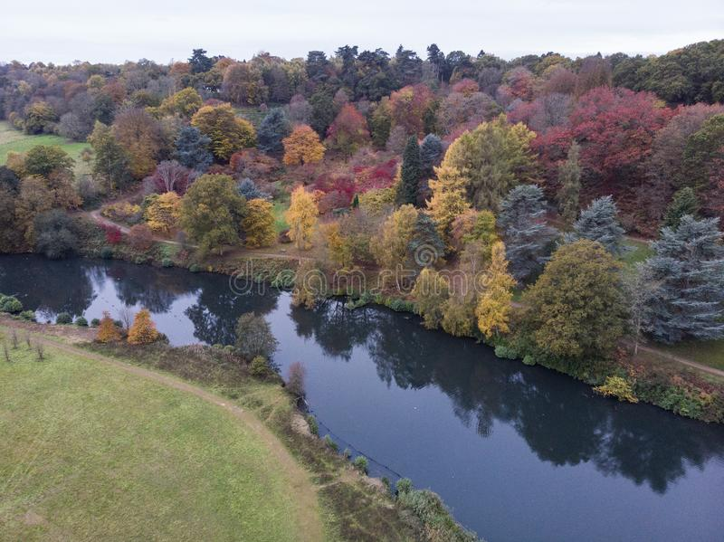 Stunning aerial drone landscape image of stunning colorful vibrant Autumn Fall English countryside landscape royalty free stock images