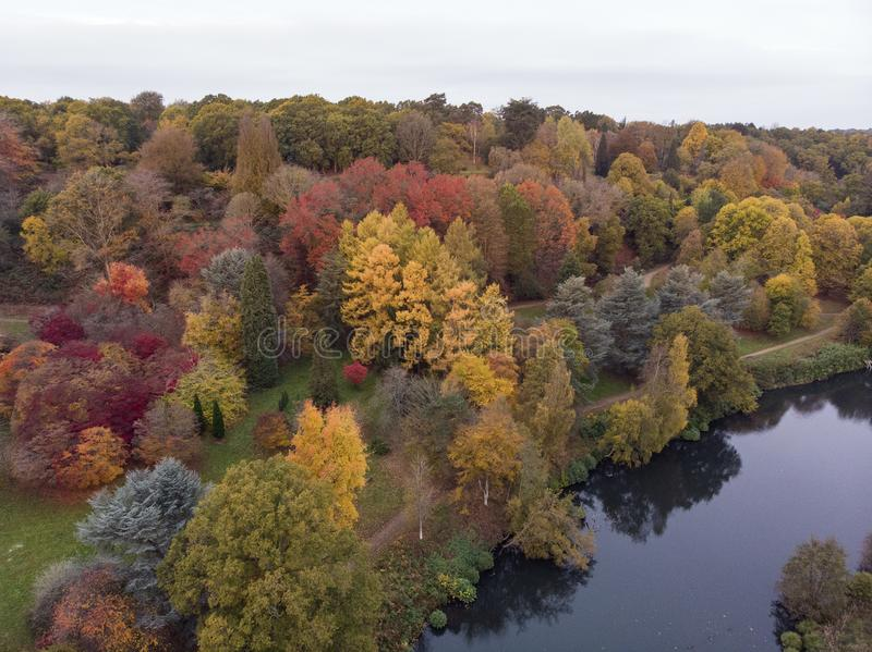 Stunning aerial drone landscape image of stunning colorful vibrant Autumn Fall English countryside landscape royalty free stock photography