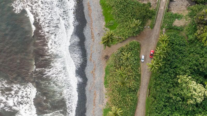 Stunning aerial drone view of a section of the famous Hana Highway south of Hana on the eastern side of the island of Maui, Hawaii royalty free stock image
