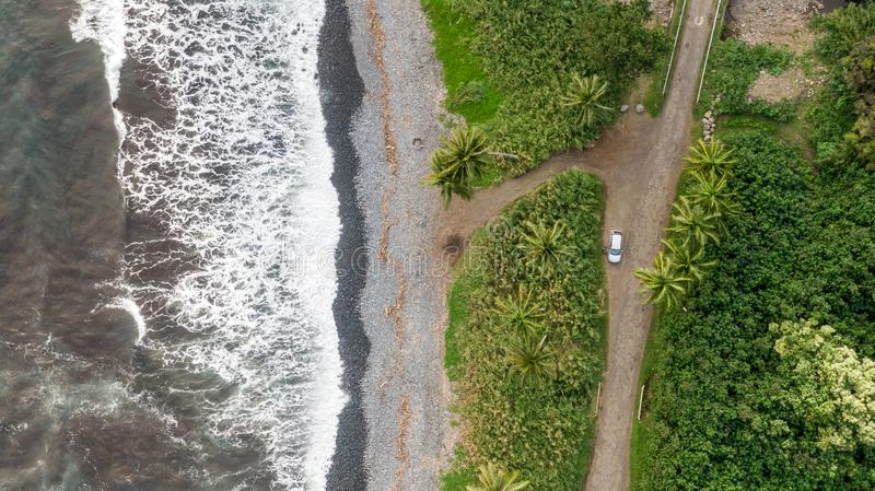 Stunning aerial drone view of a section of the famous Hana Highway south of Hana on the eastern side of the island of Maui, Hawaii stock photos