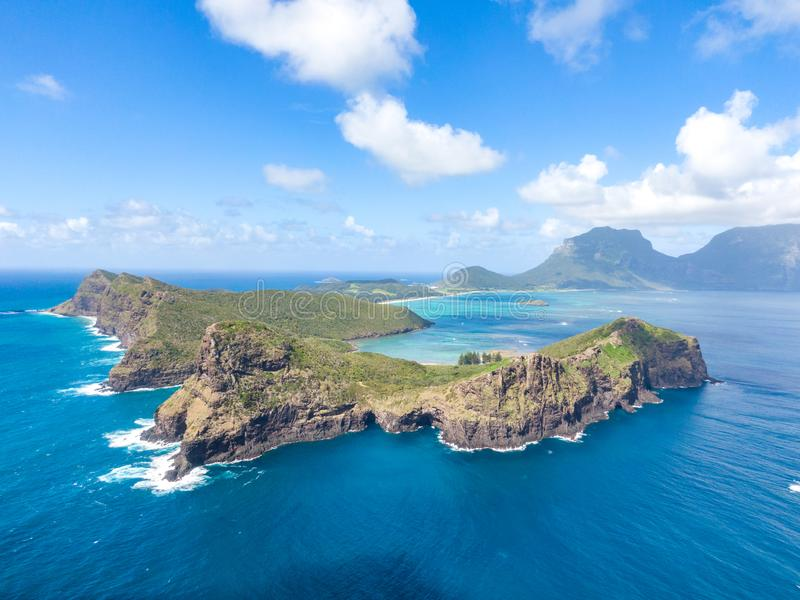 Stunning aerial panorama drone view of Lord Howe Island, a pacific subtropical island in the Tasman Sea. Between Australia and New Zealand. Lord Howe belongs to royalty free stock photo