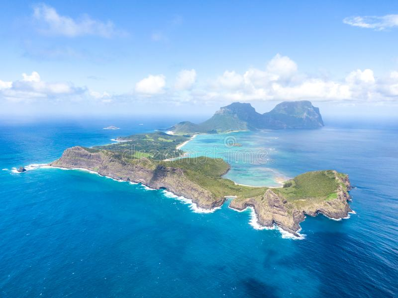 Stunning aerial panorama drone view of Lord Howe Island, a pacific subtropical island in the Tasman Sea. Between Australia and New Zealand. Lord Howe belongs to stock photo