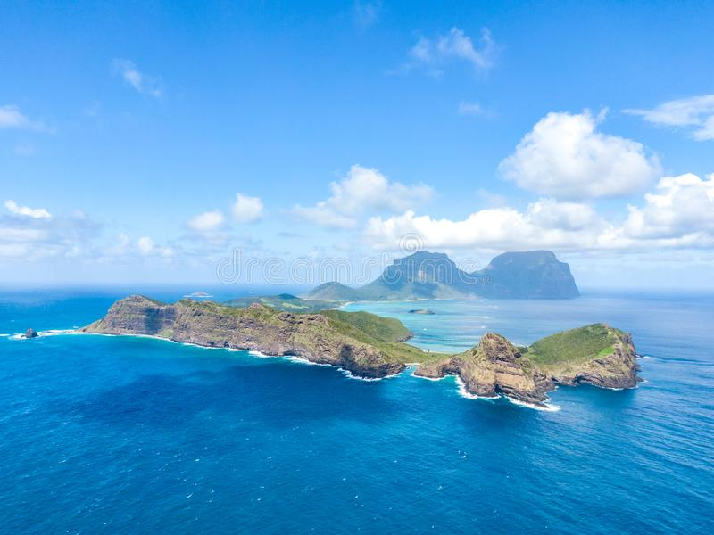 Stunning aerial panorama drone view of Lord Howe Island, a pacific subtropical island in the Tasman Sea. Between Australia and New Zealand. Lord Howe belongs to royalty free stock image