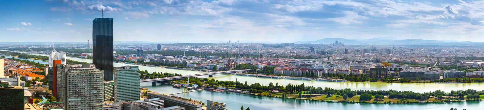 Stunning aerial panoramic cityscape view austrian capital city of Vienna.  Modern glass-concrete skyscrapers in the ancient city stock photography