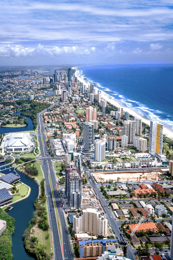 Stunning aerial shot of the city of Gold Coast stock photo