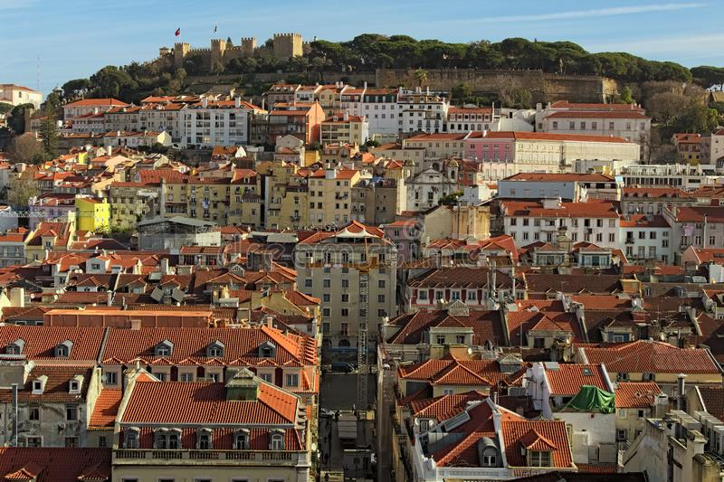 Stunning aerial view of Castle of Saint George or Sao Jorge and the historical part of Lisbon. Sunny morning, Lisbon, Portugal royalty free stock photo