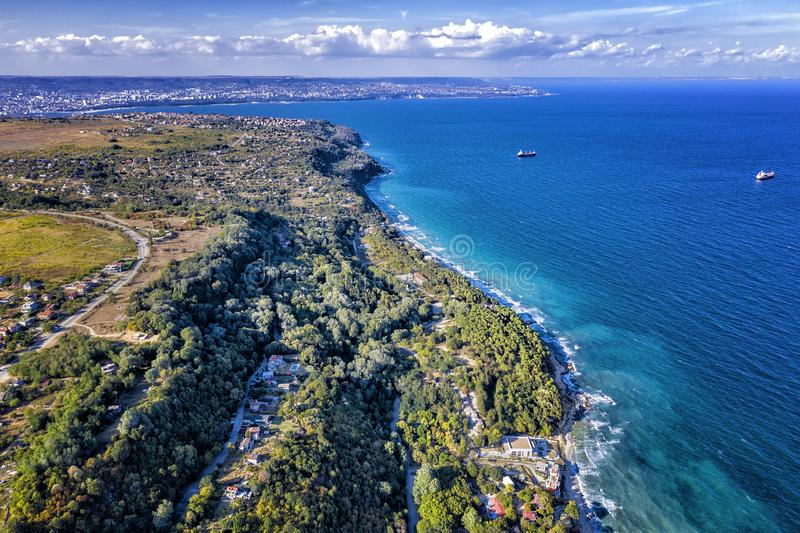 Stunning aerial view at coastline royalty free stock images