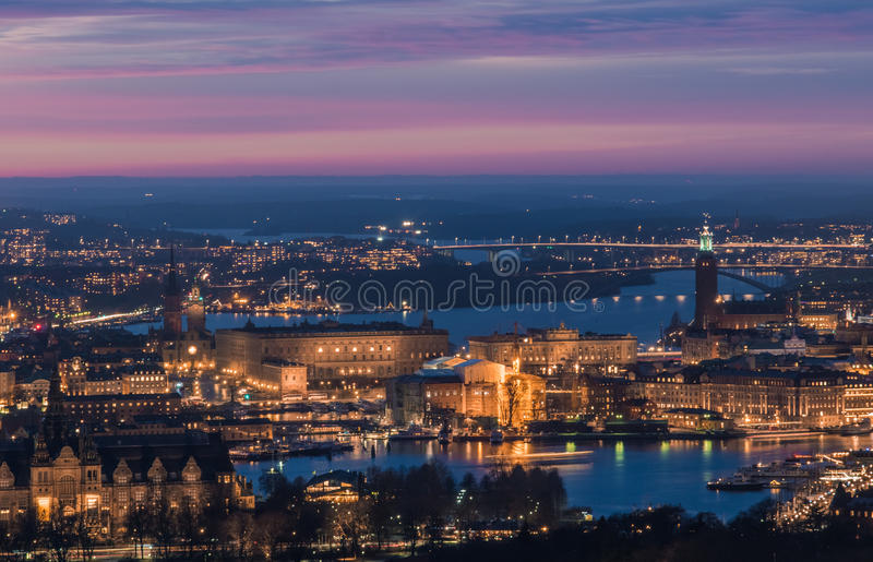 Stunning aerial view of Stockholm city center at night. stock images