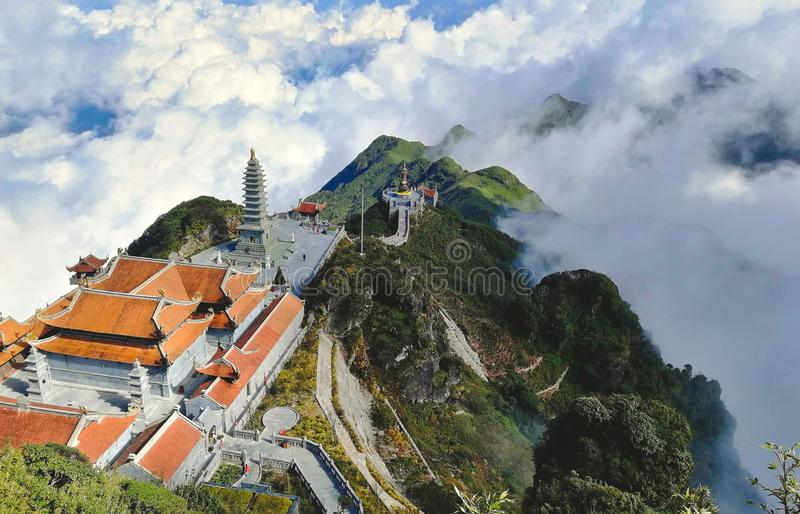 Stunning view of the temples on Fansipan mountain in the Lào Cai province in Vietnam royalty free stock images