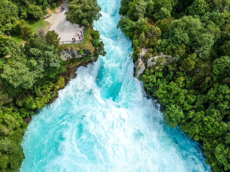Stunning aerial wide angle drone view of Huka Falls waterfall in Wairakei near Lake Taupo in New Zealand stock images