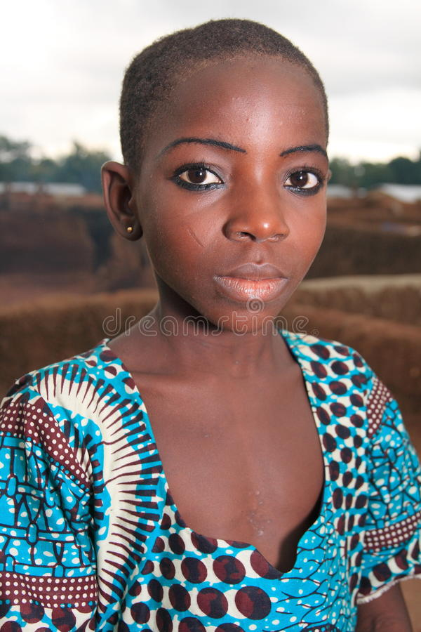 Stunning African girl with a tribal scar royalty free stock photo