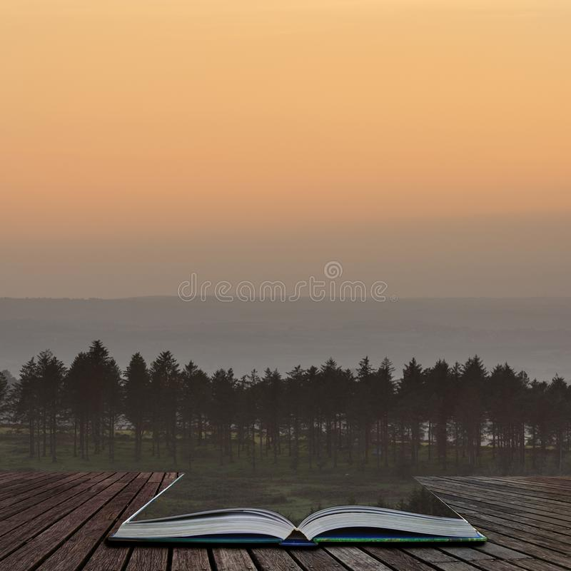 Stunning Autumn sunset landscape image of view from Leather Tor towards Burrator Reservoir in Dartmoor National Park coming out of. Beautiful Autumn sunset royalty free stock photo
