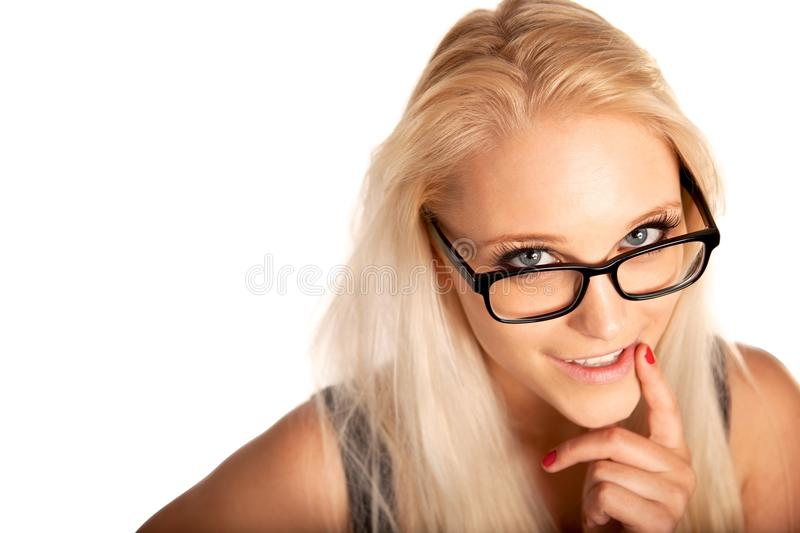Stunning Beauty Looking Up at You. Stunning beauty looking up and giving you a flirty smile stock photos