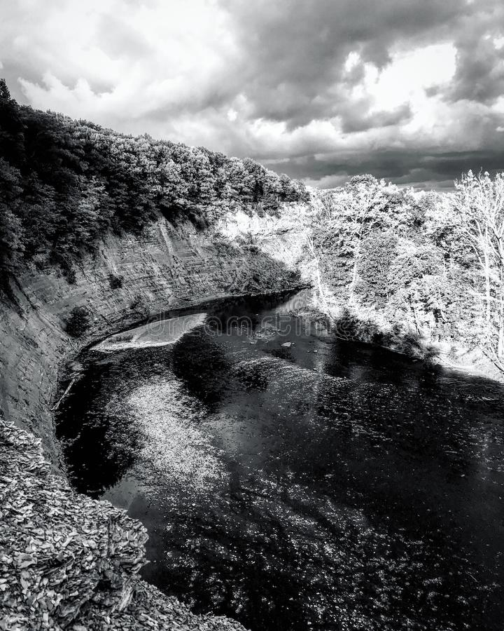 A stunning black and white view of the cliffs of Rocky River - CLEVELAND - OHIO - USA stock photos