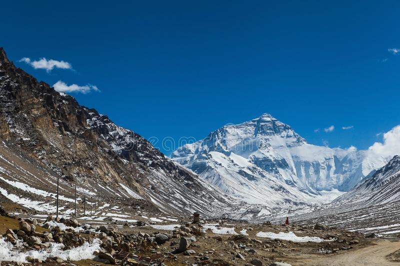Stunning view of the north face of everest mountain,Tibet royalty free stock photo