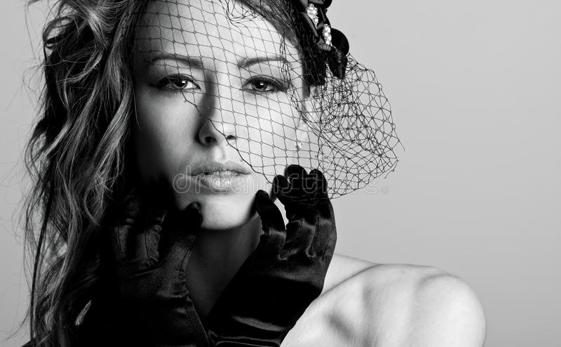 Stunning Brunette Model In Veil Royalty Free Stock Photography