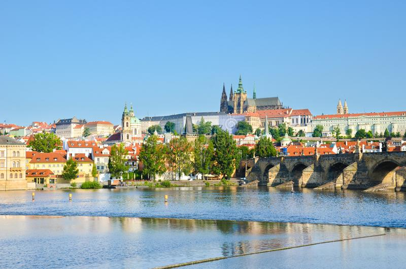 Stunning cityscape of Prague, Bohemia, Czech Republic photographed with dominant Prague Castle and Charles Bridge. The beautiful stock photography