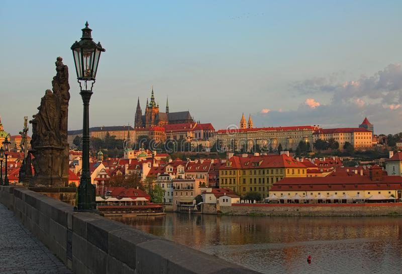 Stunning cityscape of the Prague Castle with Saint Vitus Cathedral in the city center in Prague by the Vltava River during sunrise stock images