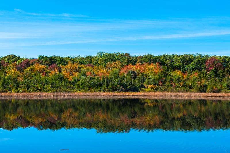 Looking over Old Mill Pond in Spring Lake Heights, NJ stock photos