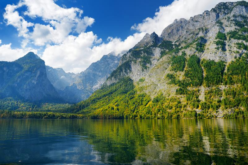 Stunning deep green waters of Konigssee, known as Germany`s deepest and cleanest lake, located in the extreme southeast Berchtesg stock photos