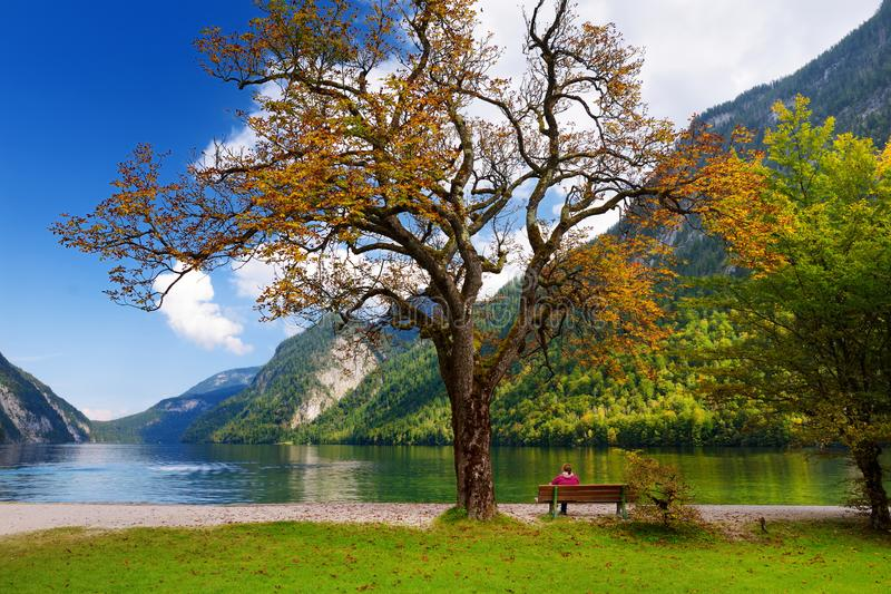 Stunning deep green waters of Konigssee, known as Germany`s deepest and cleanest lake, located in the extreme southeast Berchtesg stock photography