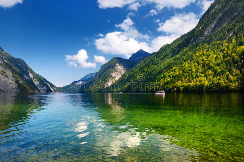 Stunning deep green waters of Konigssee, known as Germany`s deepest and cleanest lake, located in the extreme southeast Berchtesg stock images