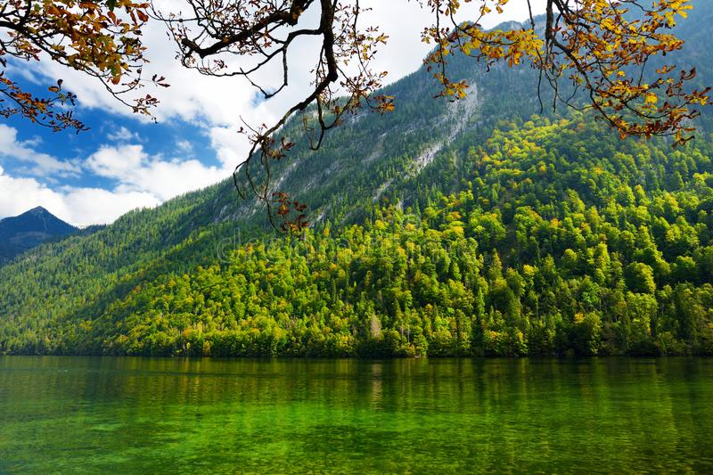Stunning deep green waters of Konigssee, known as Germany`s deepest and cleanest lake, located in the extreme southeast Berchtesg royalty free stock photos