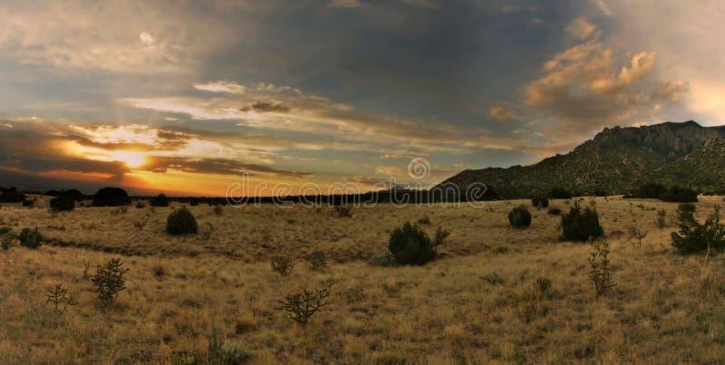 Stunning desert sunset. Over the Sandia Mountains of Albuquerque, New Mexico royalty free stock photos