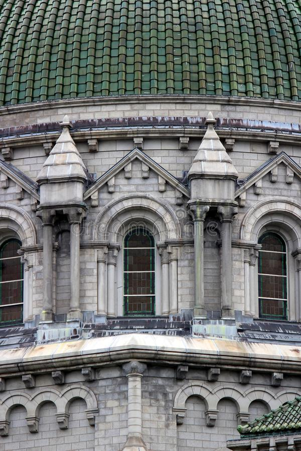Stunning detail in architectural design of exterior walls, Cathedral Basilica, St Louis, 2019 royalty free stock photography