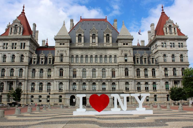 Stunning detail in architecture of New York State Capitol Building, Albany, New York, 2019 stock image