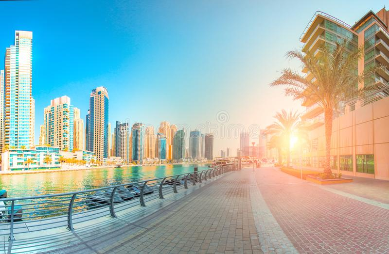 Stunning Dubai cityscape in the morning royalty free stock photo