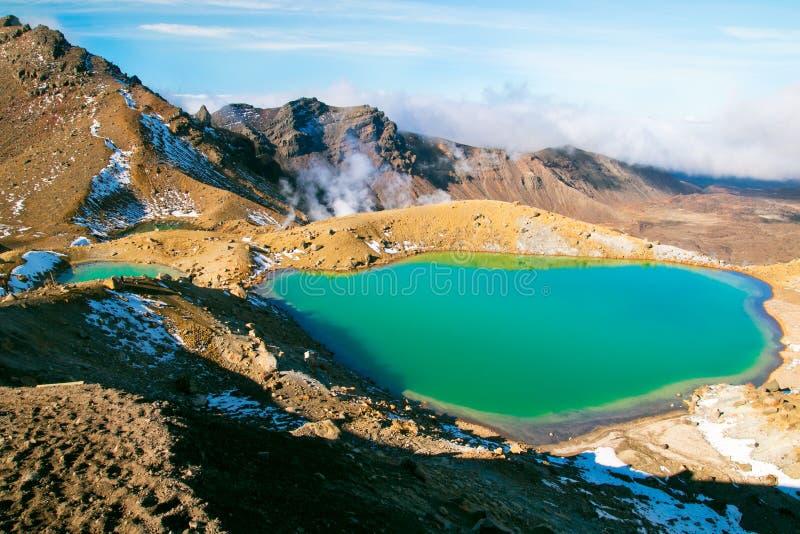 Stunning emerald blue lake in high magnitude of World`s Heritage Tongariro National Park, Great Walk stock photo