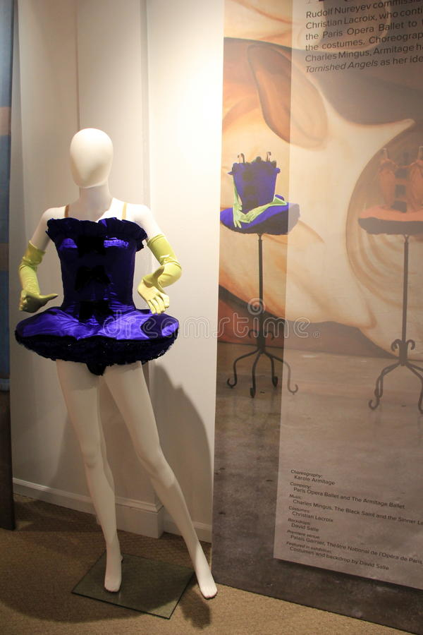 Stunning example of dancewear, National Museum of Dance, Saratoga,New York,2015. Example of dance costume on display, showcasing the timeline of dance and design royalty free stock photo