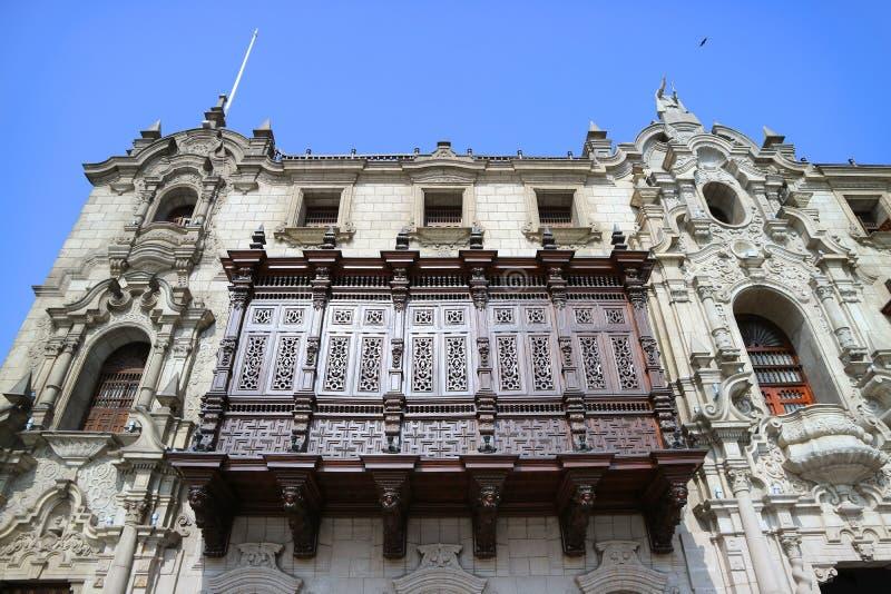 Stunning Facade of the Archbishop`s Palace of Lima on Plaza Mayor, Lima, Peru stock photos