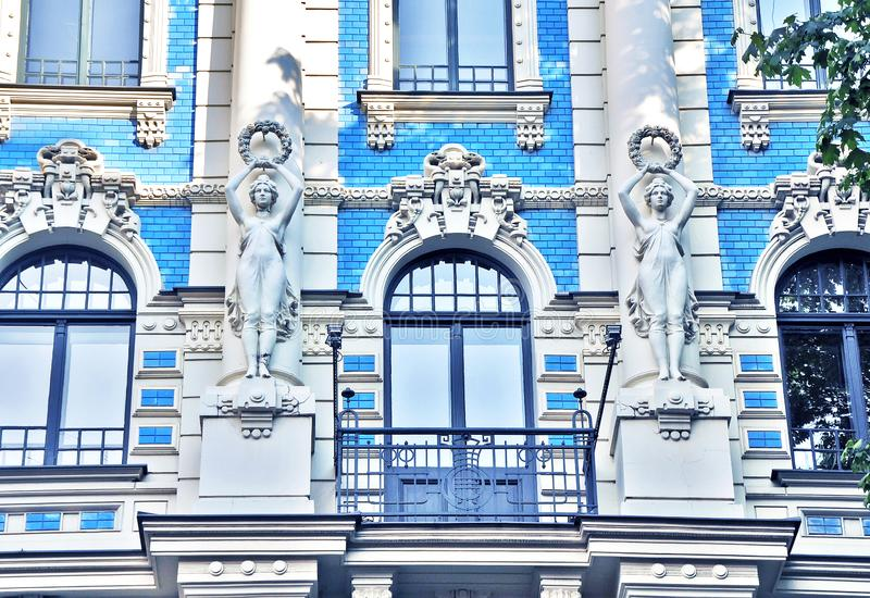 Stunning fragment of a building in Art Nouveau District in Riga, Latvia stock photography