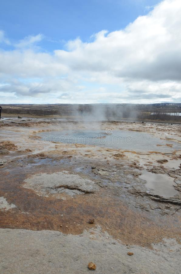 Stunning geyser landscape with a scenic view in Iceland royalty free stock photo